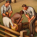 Image with detail from mural depicting early industry in Ohio in the North Hearing Room of the Moyer Judicial Center.