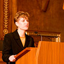 Image of Notre Dame Professor Linda Przybyszewski speaking in April 2009 about an Ohio Supreme Court case dubbed the Cincinnati Bible War.
